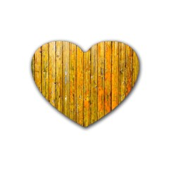 Background Wood Lath Board Fence Rubber Coaster (heart)  by Amaryn4rt