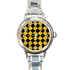 Square2 Black Marble & Yellow Marble Round Italian Charm Watch by trendistuff