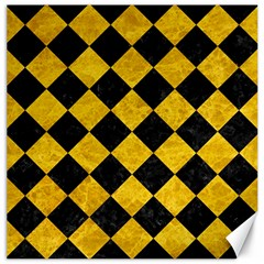 Square2 Black Marble & Yellow Marble Canvas 12  X 12  by trendistuff