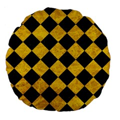 Square2 Black Marble & Yellow Marble Large 18  Premium Flano Round Cushion  by trendistuff