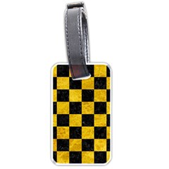 Square1 Black Marble & Yellow Marble Luggage Tag (one Side) by trendistuff
