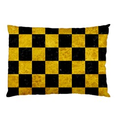 Square1 Black Marble & Yellow Marble Pillow Case (two Sides) by trendistuff