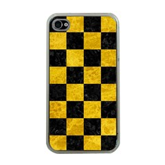 Square1 Black Marble & Yellow Marble Apple Iphone 4 Case (clear) by trendistuff