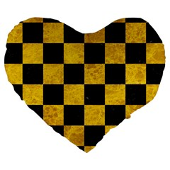 Square1 Black Marble & Yellow Marble Large 19  Premium Heart Shape Cushion by trendistuff