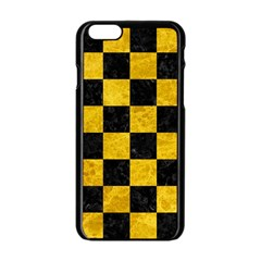 Square1 Black Marble & Yellow Marble Apple Iphone 6/6s Black Enamel Case by trendistuff