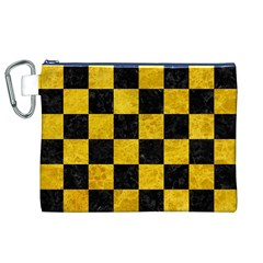 Square1 Black Marble & Yellow Marble Canvas Cosmetic Bag (xl) by trendistuff