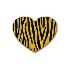 Skin4 Black Marble & Yellow Marble Rubber Heart Coaster (4 Pack) by trendistuff