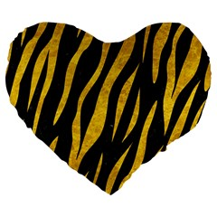 Skin3 Black Marble & Yellow Marble Large 19  Premium Flano Heart Shape Cushion by trendistuff