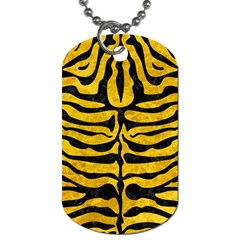 Skin2 Black Marble & Yellow Marble (r) Dog Tag (one Side) by trendistuff