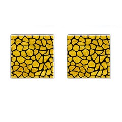 Skin1 Black Marble & Yellow Marble Cufflinks (square) by trendistuff