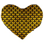 SCALES3 BLACK MARBLE & YELLOW MARBLE (R) Large 19  Premium Flano Heart Shape Cushion Front