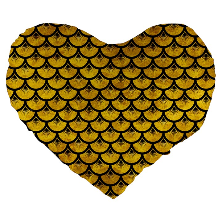 SCALES3 BLACK MARBLE & YELLOW MARBLE (R) Large 19  Premium Flano Heart Shape Cushion