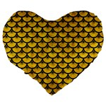 SCALES3 BLACK MARBLE & YELLOW MARBLE (R) Large 19  Premium Flano Heart Shape Cushion Back