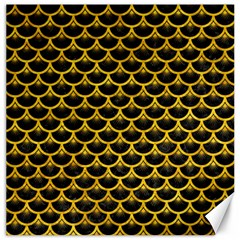 Scales3 Black Marble & Yellow Marble Canvas 12  X 12  by trendistuff