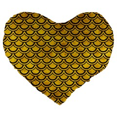 Scales2 Black Marble & Yellow Marble (r) Large 19  Premium Flano Heart Shape Cushion by trendistuff