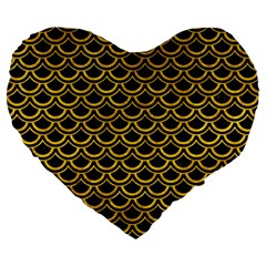 Scales2 Black Marble & Yellow Marble Large 19  Premium Flano Heart Shape Cushion by trendistuff