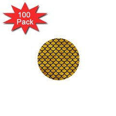 Scales1 Black Marble & Yellow Marble (r) 1  Mini Button (100 Pack)