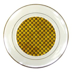 Scales1 Black Marble & Yellow Marble (r) Porcelain Plate by trendistuff