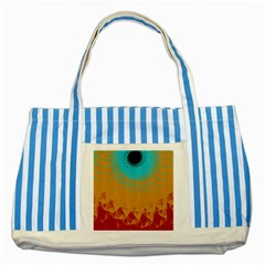 Bluesunfractal Striped Blue Tote Bag by theunrulyartist
