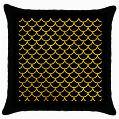 Scales1 Black Marble & Yellow Marble Throw Pillow Case (black) by trendistuff