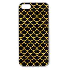 Scales1 Black Marble & Yellow Marble Apple Seamless Iphone 5 Case (clear) by trendistuff