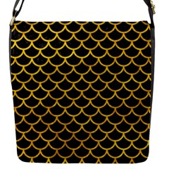 Scales1 Black Marble & Yellow Marble Flap Closure Messenger Bag (s) by trendistuff