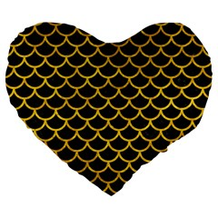 Scales1 Black Marble & Yellow Marble Large 19  Premium Flano Heart Shape Cushion by trendistuff