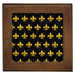 Royal1 Black Marble & Yellow Marble (r) Framed Tile