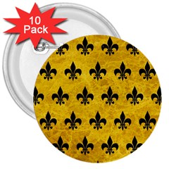 Royal1 Black Marble & Yellow Marble 3  Button (10 Pack) by trendistuff