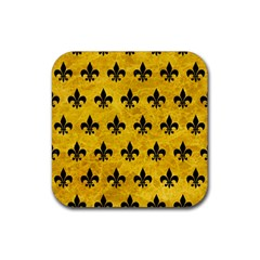 Royal1 Black Marble & Yellow Marble Rubber Square Coaster (4 Pack) by trendistuff