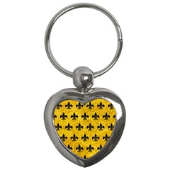 Royal1 Black Marble & Yellow Marble Key Chain (heart) by trendistuff
