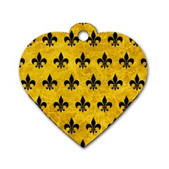 Royal1 Black Marble & Yellow Marble Dog Tag Heart (one Side)