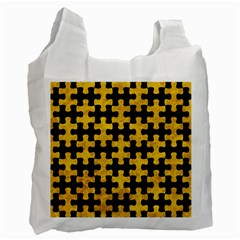 Puzzle1 Black Marble & Yellow Marble Recycle Bag (one Side) by trendistuff