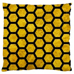 Hexagon2 Black Marble & Yellow Marble (r) Standard Flano Cushion Case (two Sides) by trendistuff