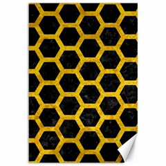 Hexagon2 Black Marble & Yellow Marble Canvas 12  X 18  by trendistuff