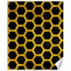 Hexagon2 Black Marble & Yellow Marble Canvas 11  X 14  by trendistuff