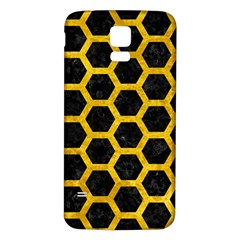 Hexagon2 Black Marble & Yellow Marble Samsung Galaxy S5 Back Case (white) by trendistuff