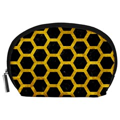 Hexagon2 Black Marble & Yellow Marble Accessory Pouch (large) by trendistuff