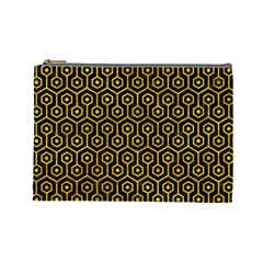 Hexagon1 Black Marble & Yellow Marble Cosmetic Bag (large) by trendistuff