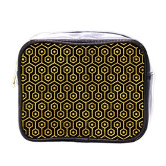 Hexagon1 Black Marble & Yellow Marble Mini Toiletries Bag (one Side) by trendistuff