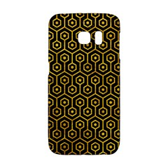 Hexagon1 Black Marble & Yellow Marble Samsung Galaxy S6 Edge Hardshell Case by trendistuff