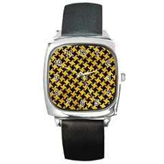 Houndstooth2 Black Marble & Yellow Marble Square Metal Watch by trendistuff