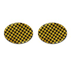 Houndstooth2 Black Marble & Yellow Marble Cufflinks (oval) by trendistuff
