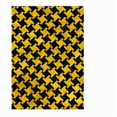 Houndstooth2 Black Marble & Yellow Marble Large Garden Flag (two Sides) by trendistuff