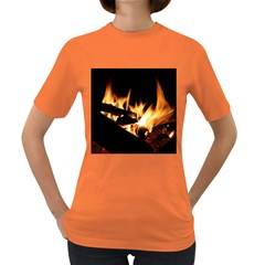 Bonfire Wood Night Hot Flame Heat Women s Dark T Shirt by Amaryn4rt