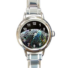 Bubble Iridescent Soap Bubble Round Italian Charm Watch