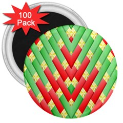 Christmas Geometric 3d Design 3  Magnets (100 pack) by Amaryn4rt