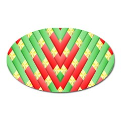 Christmas Geometric 3d Design Oval Magnet by Amaryn4rt