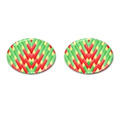 Christmas Geometric 3d Design Cufflinks (oval) by Amaryn4rt