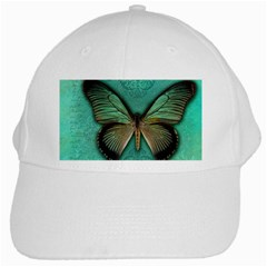 Butterfly Background Vintage Old Grunge White Cap by Amaryn4rt